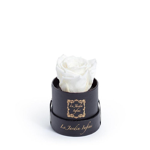 Single White Preserved Rose - Small Round Black Box
