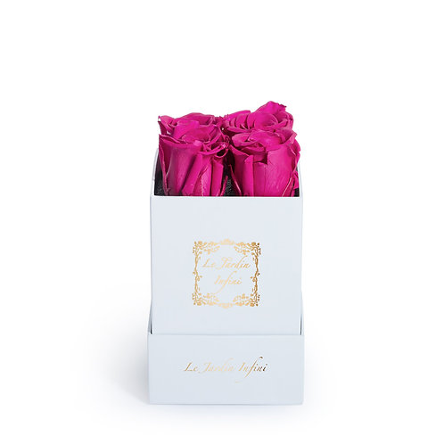 Hot Pink Preserved Roses - Small Square White Box