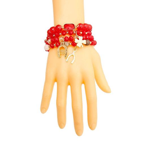 Red Bead Luck Charm Bracelets