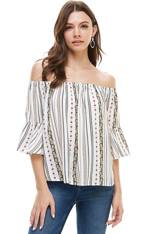 ETHNIC FLORAL PRINTED OFF THE SHOULDER RUFFLE