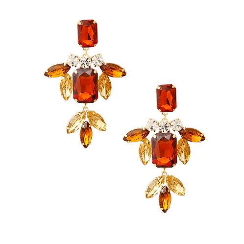 Brown Rhinestone Drop Earrings