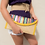 Thumbnail: Straw Clutch Bag With Colorful Sequin. Embroidery Triangles , Yellow