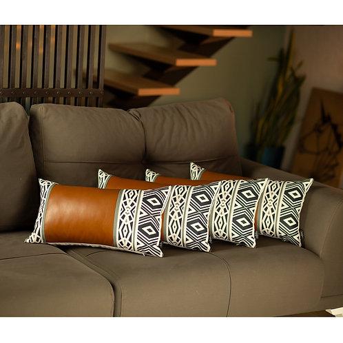 Decorative Brown Vegan Faux Leather Lumbar Throw Pillow Cover (Set of