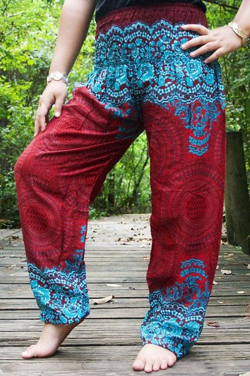 Burgundy FLORAL Mandala Harem Pants Boho Pants Hippie Pants Yoga