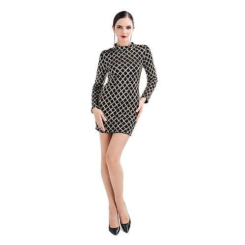 Black Sequined Grid Dress