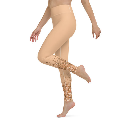 High Waist Peach Gold Glitter Leggings