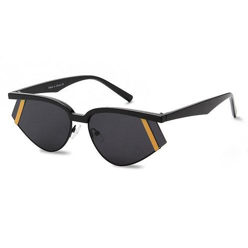 Black and Gold Futuristic Rectangle Glasses