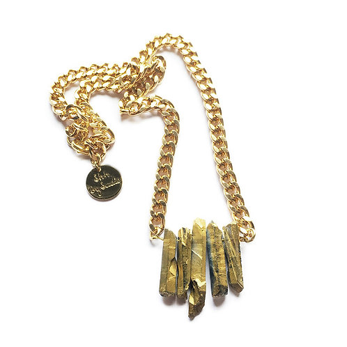 Rocked Up Mini Crystal Quartz Necklace - Gold