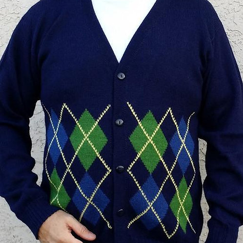 Argyle Golf Alpaca Cardigan