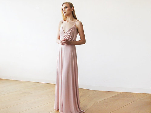 Blush Pink Maxi Wrap Dress With Slit  1060