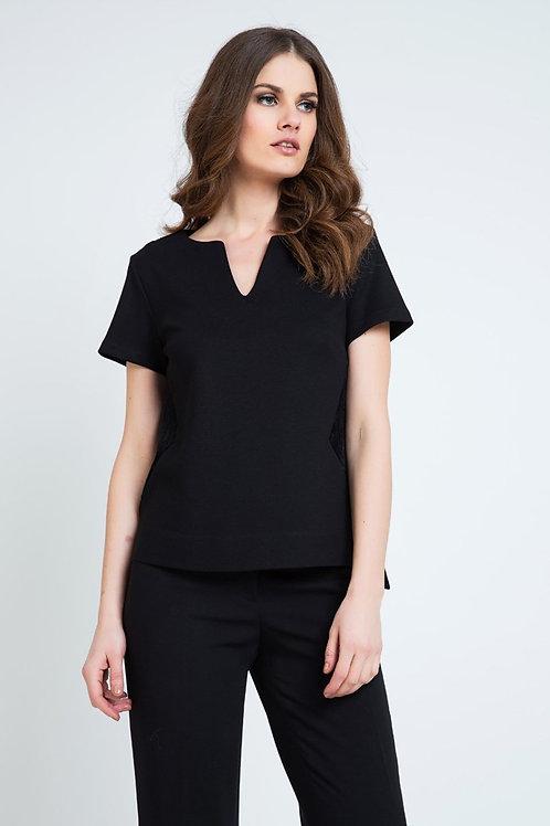 Black Short Sleeve V Neck Top