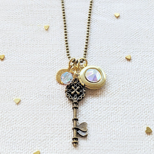 """ADJUSTABLE """"ONE VOICE"""" VINTAGE KEY & BALL CHAIN LOCKET NECKLACE (LONG)"""