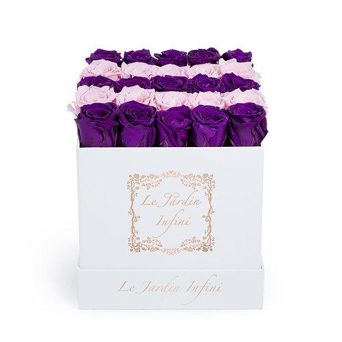 Purple & Soft Pink Preserved Roses - Medium Square White Box