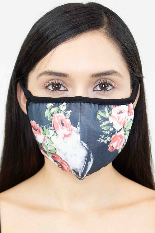 Black Rose Skull Print Face Mask