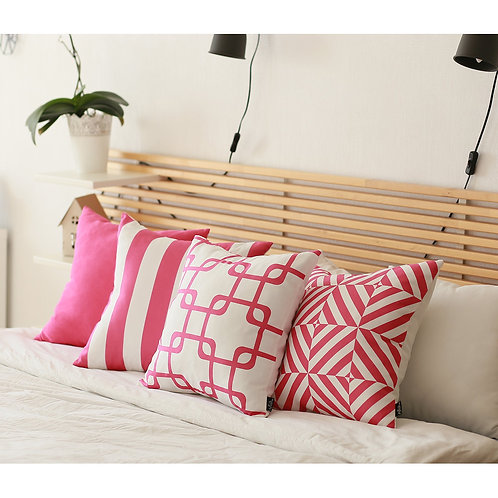 "Geometric Pink Stripes Square 18"" Throw Pillow Cover"