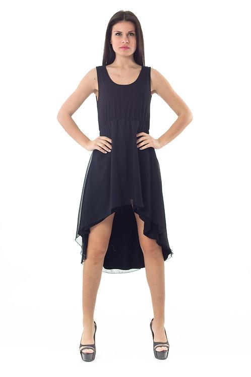 High Low Layer Dress Black