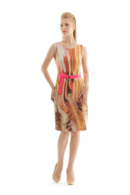 Print Wrap Dress With Self Tie Waist