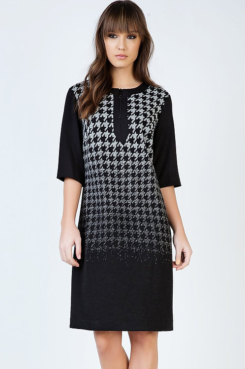 Ombre Dogtooth Elbow Sleeve Dress