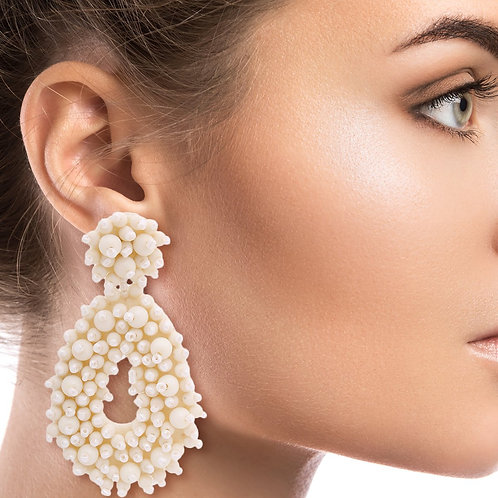 Cream Bead Coated Teardrop Earrings
