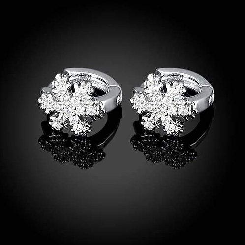 18k White Gold Plated Snow Flake Swarovski Huggie Earrings