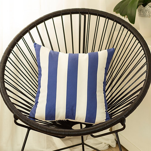"Geometric Blue Stripes Square 18"" Throw Pillow Cover"