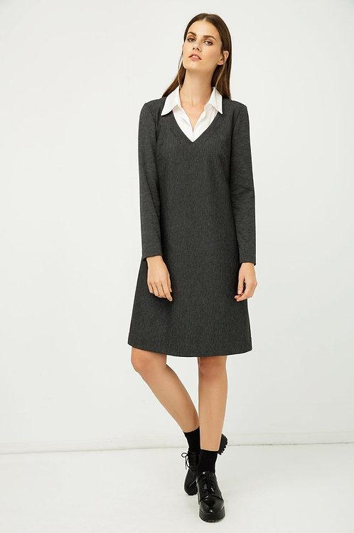 Shirt Collar Detail Dark Striped Grey Dress