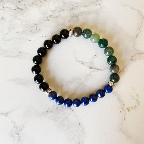 Black Onyx, Lapis Lazuli and Moss Agate Bracelet