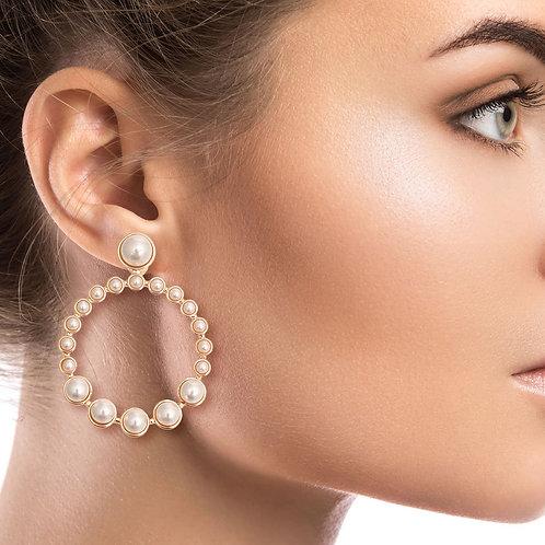Cream Pearl Round Drop Post Earrings