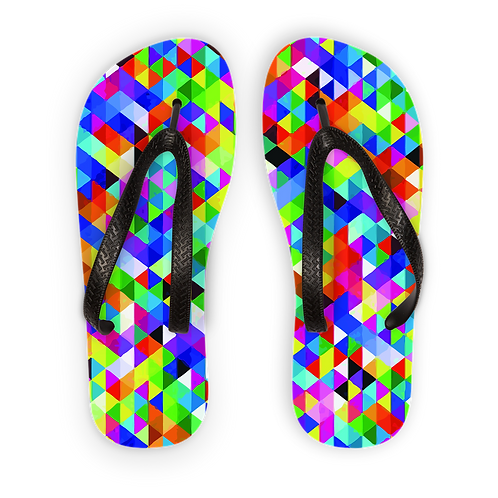 Colorful Geometric Blast Adult Flip Flops