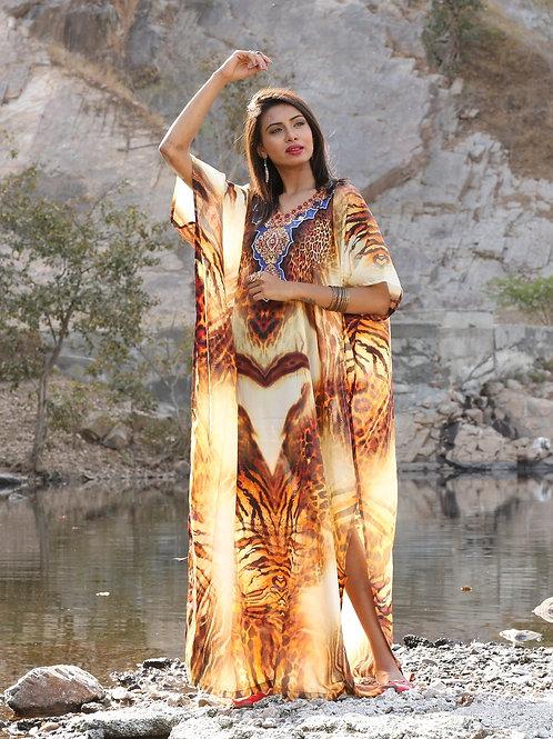 Animal Print Long Silk Kaftan Cover-Up Dress for All Women Party Dresses Kaftan
