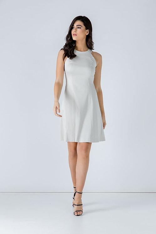 A Line Sleeveless White Dress