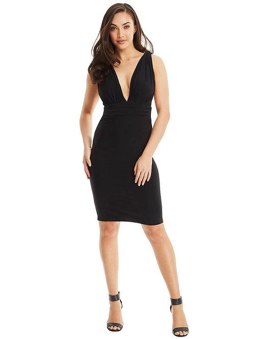 V Neck Cocktail Dress - Black
