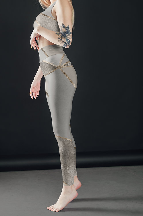 Silver Gold Geometry leggings, Capris and Shorts