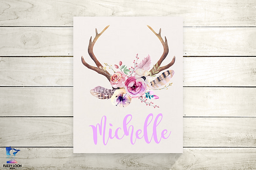 Antler and Flower Personalized Canvas Print