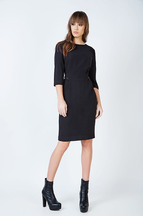 Fitted Black Pocket Detail Dress in Crepe Fabric