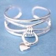 Dangle Heart Sterling Silver Toe Ring