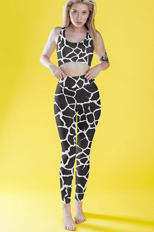 Black/White Giraffe Animal Print Fitness Set