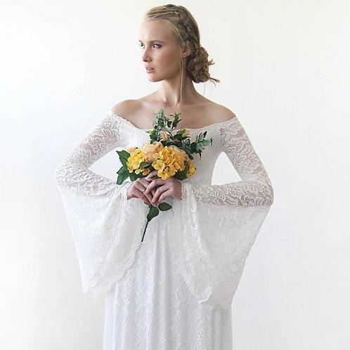 Long Bell Sleeve Lace Wedding Dress 1201