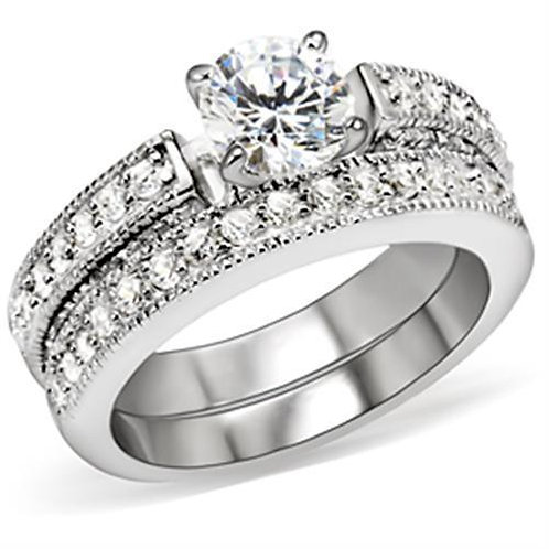 5X016 Rhodium Brass Ring with AAA Grade CZ in