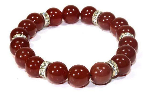 Carnelian & Pave Beads Bracelet