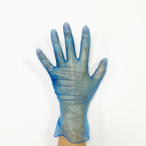 Blue latex free multi-purpose powdered vinyl disposable gloves