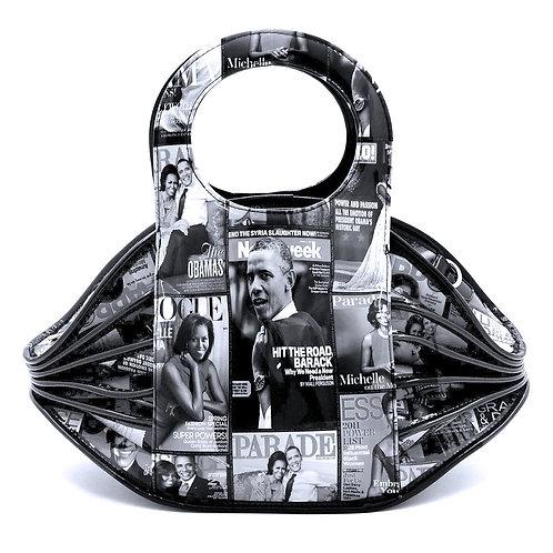 Black and White Michelle Obama Accordion Bag