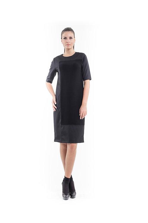 Contrast Fabric Shift Dress Black