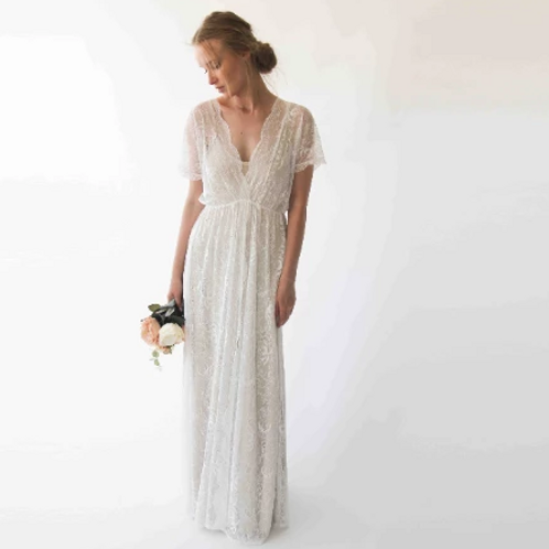 Bohemian Bat Sleeves Maxi Lace Wedding Dress, 1044
