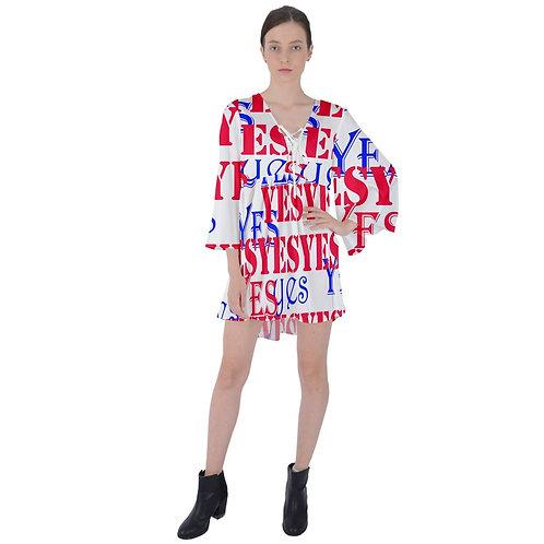 YES V-Neck Flare Sleeve Mini Dress