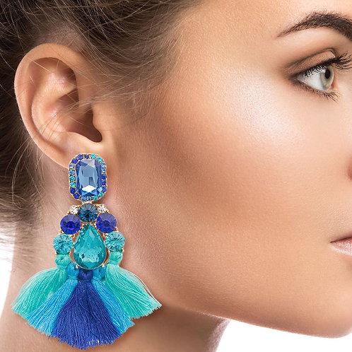Turquoise and Blue Tassel Earrings