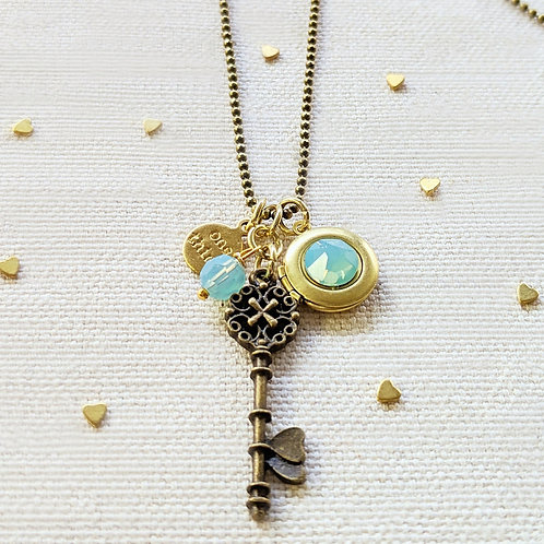 "ADJUSTABLE ""ONE LOVE"" VINTAGE KEY & BALL CHAIN LOCKET NECKLACE (LONG)"