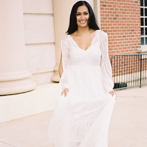 Bishop With a Slit Sleeves Dress,lace Bohemian Wedding Dress, Ivory Vintage Sty