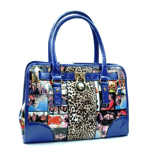Blue Leopard Michelle Obama Tote