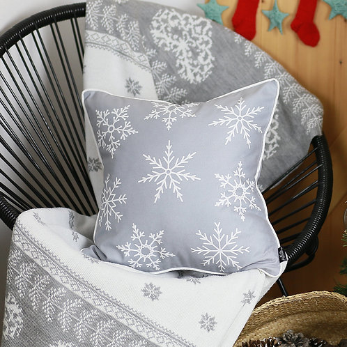 "Christmas Grey Snowflakes Square 18"" Throw Pillow Cover"